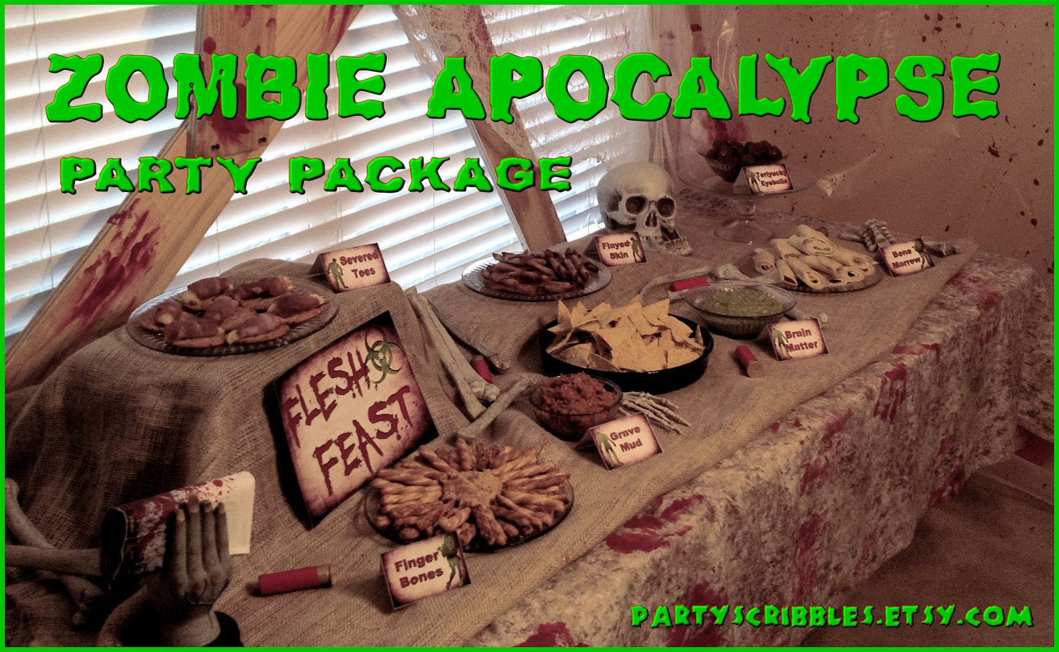 Zombie apocalypse party package printable diy by for Table zombies
