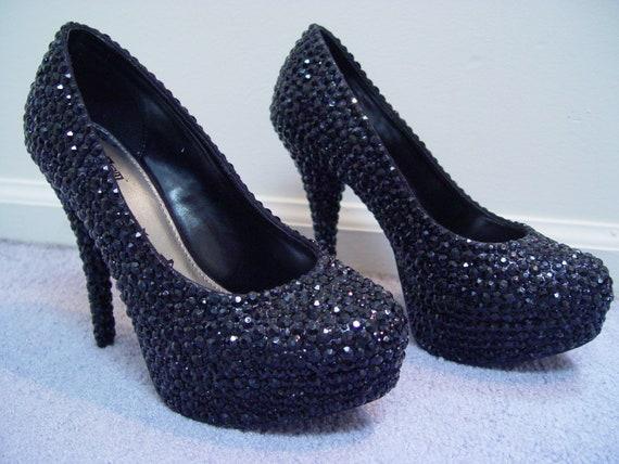 Hand Made Womens Christian Louboutin Style Black Rhinestone High Heel Shoes