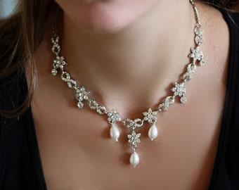 Bridal Necklace Earrings Set, Bridal Necklace, Wedding Necklace, Crystal Necklace, Crystal Earrings, Swarovski Necklace