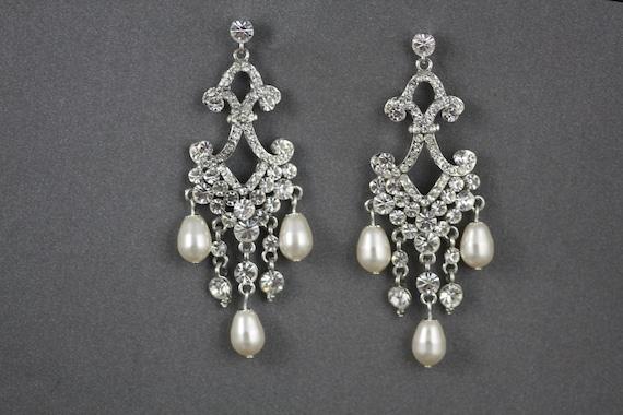 Swarovski crystal chandelier bridal earrings, Vintage inspired, Long Earrings,Wedding Earrings, Rhinestones earrings,(Lila Bella)