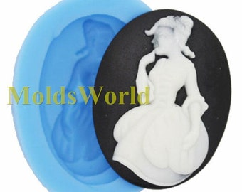 A317 Queen Cabochon Silicone Silicon Mold For Polymer Clay Craft Jewelry Fimo 40x30mm