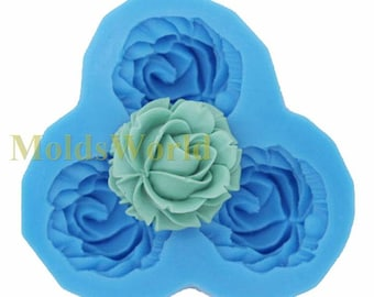 A105 Rose Flower Cabochon 3 Cavity Flexible Silicone Mold Mould for Crafts, Jewelry, Scrapbooking,  (resin, Utee, pmc, polymer clay)
