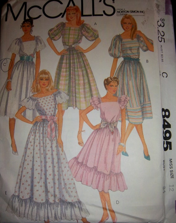 Vintage 1983 McCall's 8405 Bridesmaid or Summer Dress Pattern Sz 12 Factory Folded