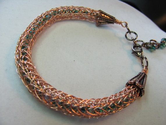 Viking knit bracelet copper green Swarovski crystals non tarnish