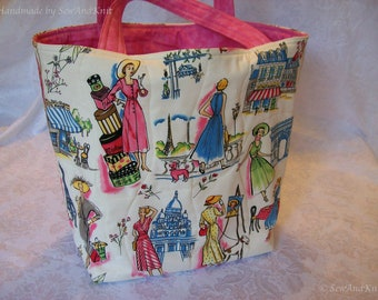Paris Quilted Purse, Craft Bag, Market Bag, Shopping Tote, Shoulder Bag with Eiffel Tower, Paris Fashions, Hat Boxes and Pink Fabric Handles