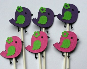 12 Colorful Birdie Bird Cupcake Toppers