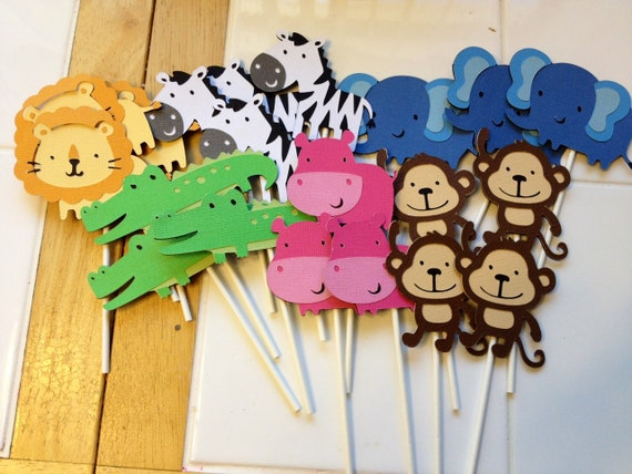 24 Jungle Animal Cupcake Toppers