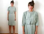 Vintage 50s / 60s Pastel Mint Dress Suit Large/XL by Paula Dean Mad Men Jackie O.