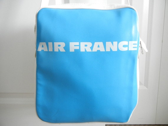 RESERVED FOR SHEILA Vintage Air France Travel Bag 1960s Blue And White Air France Monogram Double Compartments