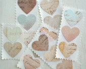 Vintage Ledger Cottage Shabby Chic 1.5 inch Heart Stickers / Envelope Seals - Set of 16 - LittlePaperFarmhouse