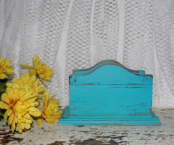 Shabby Chic Napkin Holder Distressed Aqua Vintage Kitchen Decor