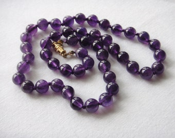 "Violet Amethyst Necklace 8mm Round Beads 18"" Long. Natural Amethyst Stone Necklace. MapenziGems"