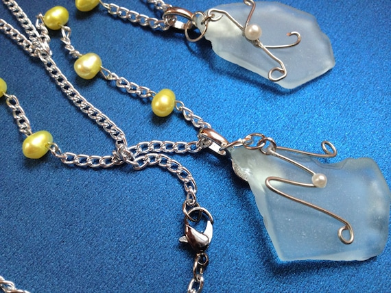 Reserved Listing for Mary P- Wedding Necklaces. Sea Glass. Yellow Pearls. Silver Chain. Beach. Nautical.