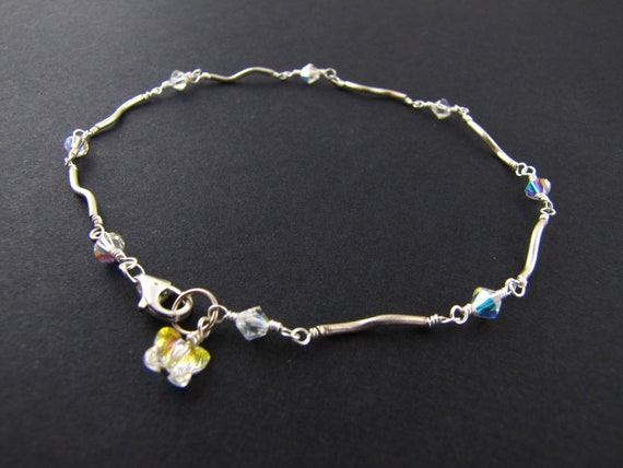 Crystal Butterfly Anklet - Sterling Silver Ankle Bracelet - Swarovski Crystal Butterfly Silver Anklet 9 inches