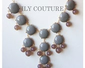 Taupe / Grey Bubble Statement Necklace