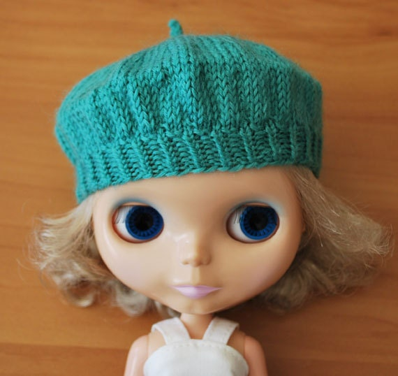 Sea Green Knitted Beret for Blythe
