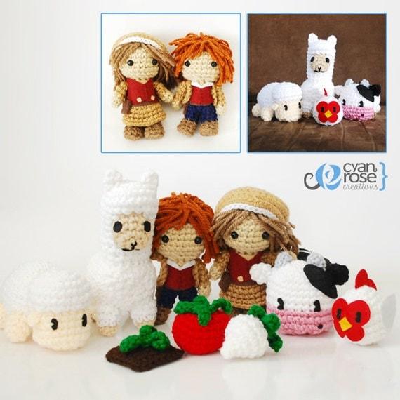 Harvest Moon Amigurumi Set - Crochet Plush Dolls - Set of 9