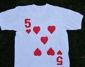 Upcycled Clothing Alice in Wonderland 5 of Hearts Royal Cardsman T-Shirt (White with Red Painted Design)