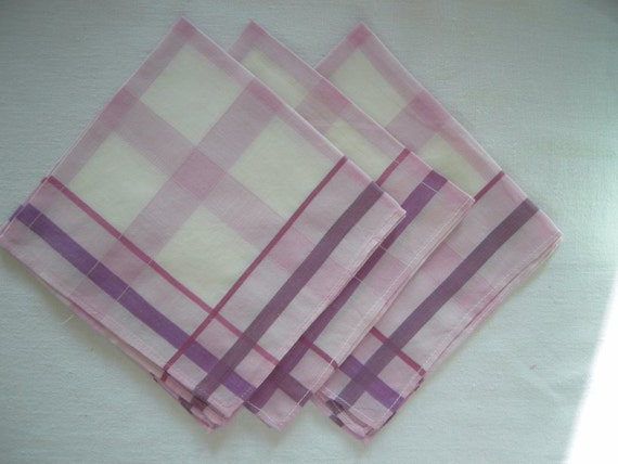 Collection Set of 3 new unused german Purple and white checked / checkboard cotton handkerchiefs