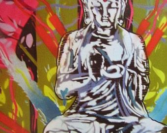 Meditating Buddha Stencil Art Print