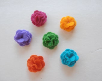 Any 4 New Felt  Lapel Flower  with button back approx. 1 inch Pick your colors