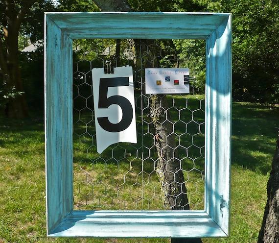 Cottage Chic Wood Frame Organizer with Chicken Wire