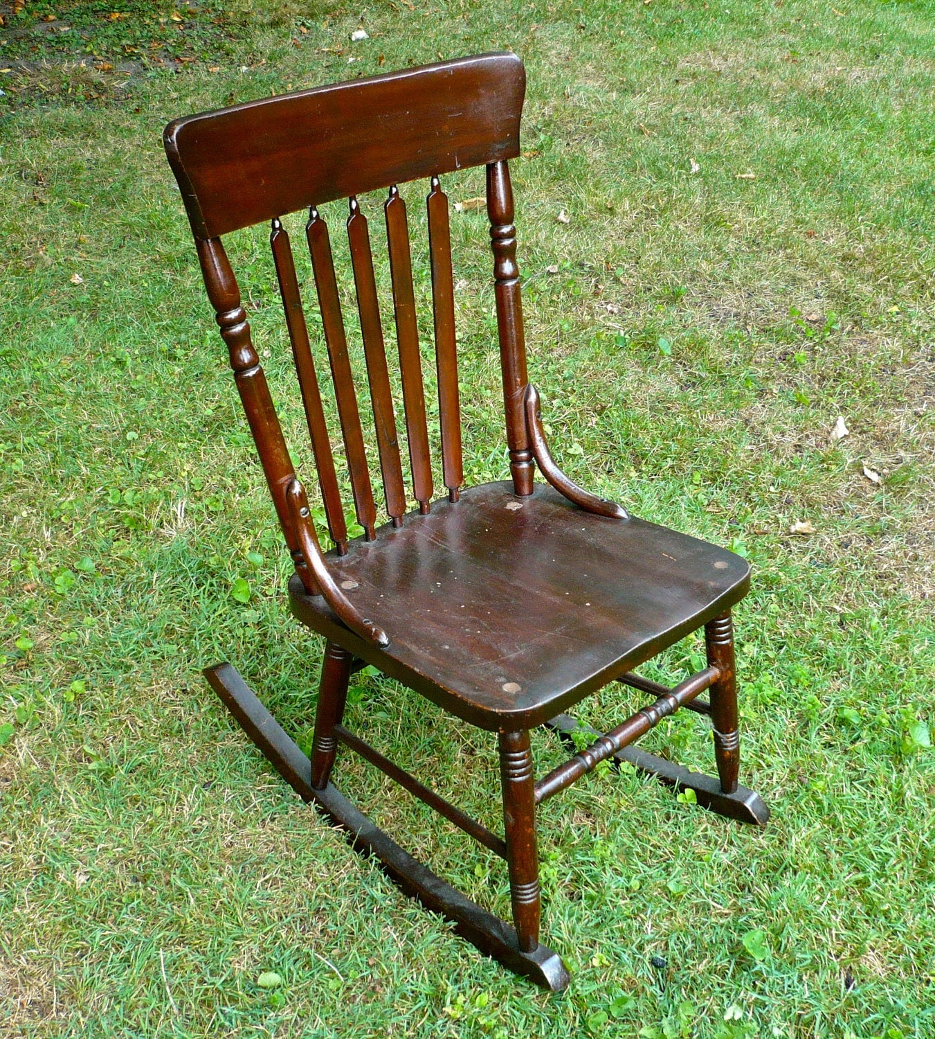 armless sewing rocking chair antique wood antique chair