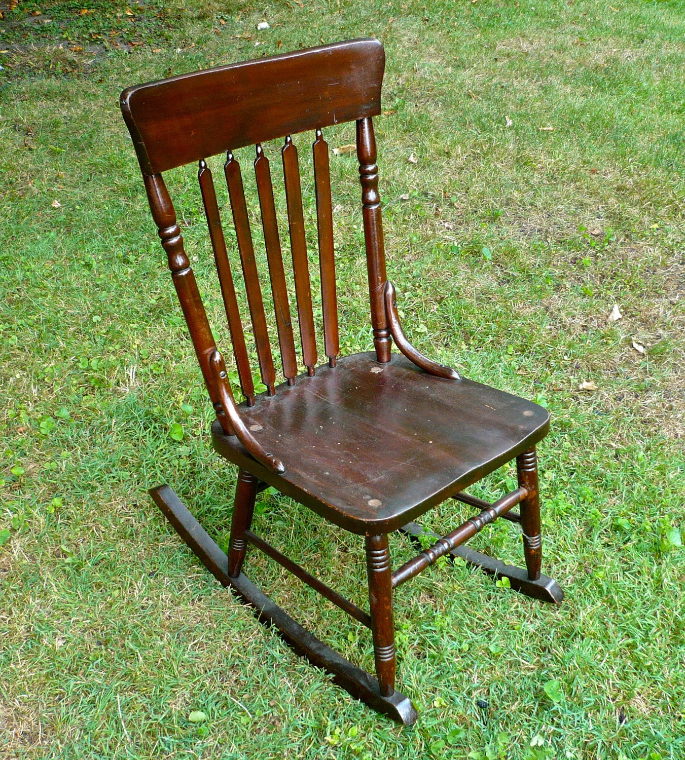 Antique Wooden Chairs ~ Armless sewing rocking chair antique wood