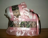 Light pink camo camouflage girl diaper bassinet baby shower gift table decoration centerpiece