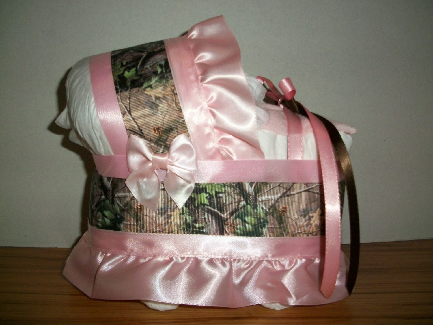 light pink camo camouflage girl diaper bassinet baby shower
