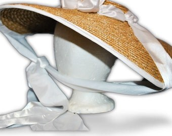 Choose Your Color Austentation Jane Austen Georgian Regency Bergere Straw Hat: Cassandra, MTO