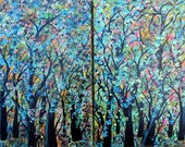 TREES DREAMSCAPE  Abstract Tree art original  landscape Modern Contemporary Painting  trees Diptych Forests Painting  by suzeee
