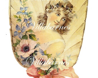 Beautiful Vintage Fan Image, Digital Download, Illustration Graphic