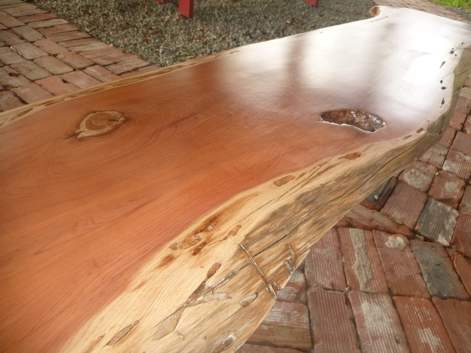Live Edge Solid Hardwood Cedar Wood Slab Natural Color Table