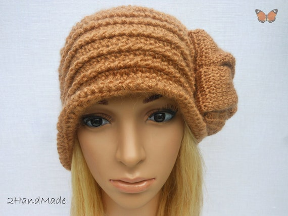 Chunky Crochet Flapper Cloche beanie brimmed Hat 192O Womens Ladies Teens Elegant Brown Angora Wool Vintage Romantic Style Gift