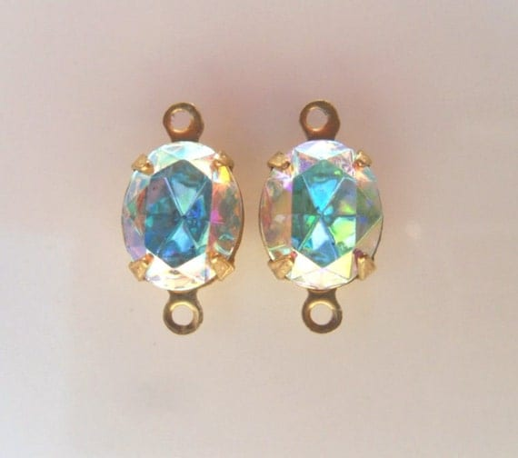 2 Aurore Boreale 10x8mm Swarovski foil backed Oval Rhinestons in 2 loop brass setting