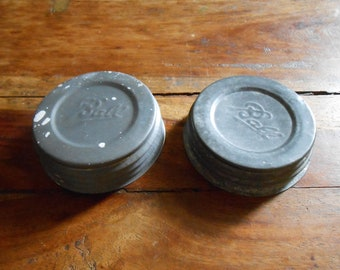 Two Classic Aluminum Mason Jar Lids with Porcelain Liner