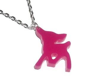 Laser Cut Necklace, Pink Deer, Kawaii Fawn