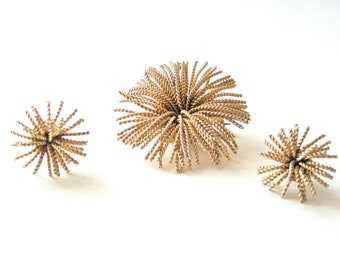Jewelry Set Vintage Bergere Starbust Brooch and Earring Faux Gold Clip on Signed Gift for Her