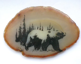 Bear Agate Stone Black and Ochre Home Dorm Decor vintage Dress your Desk Paperweight
