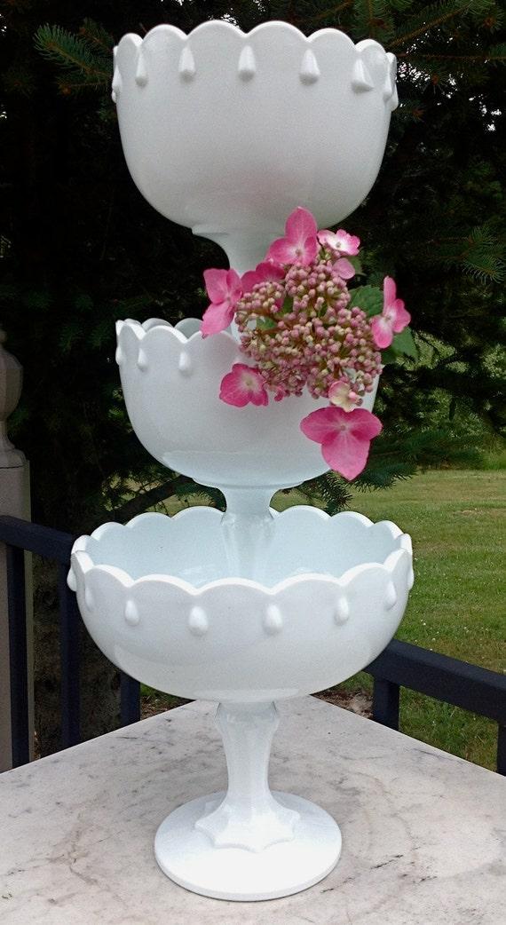 Vintage white teardrop milk glass pedestal centerpiece dishes