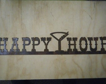 FREE SHIPPING Rusted  Metal Happy Hour with Martini Glass Sign