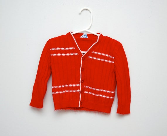 Vintage soft red cardigan toddler sweater