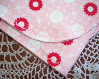 100% Cotton Flannel Baby Receiving Blanket with Bliss Flannel Backed with Vintage Cotton Fabric with Pink Embroidery