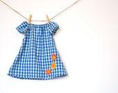 Girls Peasant Dress / Vintage Cotton Blend / Blue Gingham with Flowers / 'Jesse' newborn - 2T