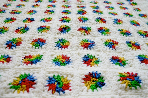 Rainbow Baby Blanket- Crocheted Granny Square Afghan- Boy Or Girl- Cotton and Acrylic Worsted Weight