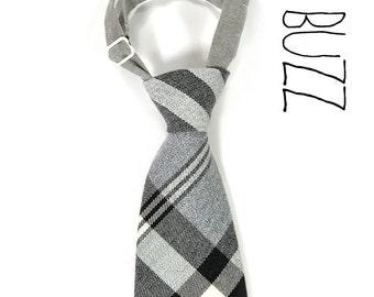 Kids NeckTie Wool Plaid, White, grey and black neck tie - Size1-0 to 18 months