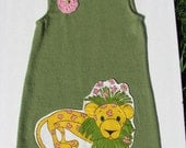 Upcycled Girls Dress -Merino Wool - Raggedy Lion - Size 3/4 T - One of a Kind