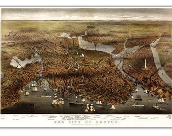 "13x19"" Boston City View from 1873, Vintage map printed on parchment paper, bird eye view, City Map"