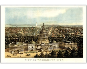"16x24"" Canvas Print Washington City and Capitolia View from 1871, Vintage map, bird eye view, City Map, Landscape"